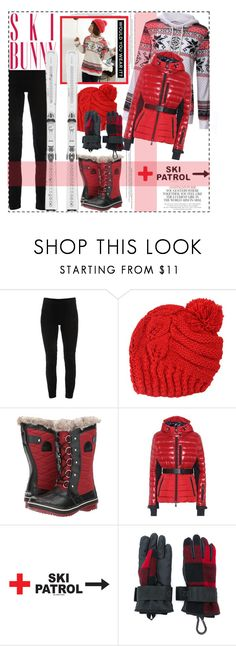 """""""SKI BUNNY: Red Snow Boots"""" by polyvore-suzyq ❤ liked on Polyvore featuring Elie Tahari, SOREL, Moncler Grenoble, Dsquared2, Sebastian Professional and Kate Spade"""