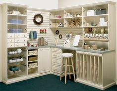 #CBD Hobby Center and Gift Wrap Station with Deco Drawers and Lucite Doors, Deco Crown and Base Molding, Baskets, Slatwalls and Vertical Slots for Organizing