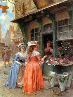 The Flower Market, Henri Victor Lesur,