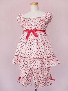 UNDERWEAR Sleepwear Pajamas | Ribbon Cherry Room Wear - Victorian Maiden |:| Lolita