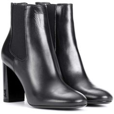 Saint Laurent Babies 95 Leather Ankle Boots (2,910 PEN) ❤ liked on Polyvore featuring shoes, boots, ankle booties, heels, ankle boots, black, mid-heel, short black boots, black heeled boots and heeled booties