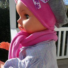 Ensemble bonnet béret chapeau et écharpe bébé fille lin eva kids velours  gris et rose 6e0ade07240