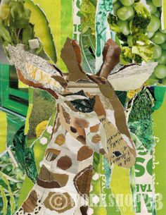 gentle giraffe paper collage 8x10 art print by workshop23 on Etsy, $20.00