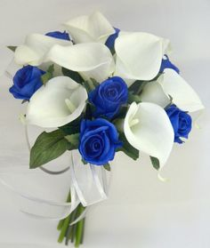 Electric Blue and Crispy Whites - From Pastels to Vibrant Hues: 15 Most Beautiful Calla Lily Wedding Bouquets - EverAfterGuide