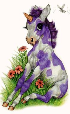 Cute little purple-patched baby unicorn. :) (Artist: Robin James.)