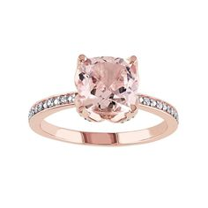 Just needs a plain rose gold band to match and PERFECT for my upgrade. Cushion-Cut Morganite and Diamond Accent Engagement Ring in Rose Gold Gold Gold, Pink Gold Rings, Rose Gold Jewelry, Jewelry Rings, Fine Jewelry, Jewelry Accessories, White Gold, Jewellery, White Topaz