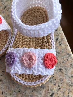 Your place to buy and sell all things handmade - Crochet baby girl sandals baby sandals Knitting Baby Girl, Baby Girl Crochet, Crochet Baby Clothes, Baby Knitting Patterns, Baby Patterns, Crochet Patterns, Sewing Patterns, Crochet Ideas, Baby Girl Sandals