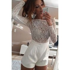 f26abaa0a85 Sexy Round Neck See-Through Lace Spliced Long Sleeve Romper For Women White  Overalls