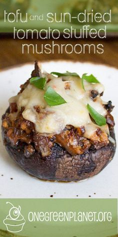 Tofu and Sun Dried Tomato Stuffed Mushrooms [Vegan] - Tofu Rezepte Veggie Recipes, Whole Food Recipes, Vegetarian Recipes, Cooking Recipes, Healthy Recipes, Burger Recipes, Veggie Food, Tofu Dishes, Vegan Main Dishes