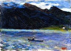 "Wassily Kandinsky - ""Kochel - Lake with Boat"", 1902 Franz Marc, Matisse, Post Impressionism, Impressionist, Klimt, Catalogue Raisonne, Popular Paintings, Wassily Kandinsky Paintings, Art Moderne"