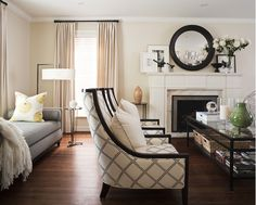living room with black and beige