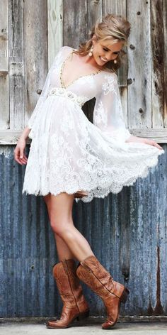 15 Trendy Lace Short Wedding Dresses ❤ lace short wedding dresses v neckline with blowing sleeves boots sherri hill ❤ Full gallery: https://weddingdressesguide.com/lace-short-wedding-dresses/ #shortweddingdresses