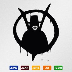 V For Vendetta Anonymous Guy Fawkes Mask Svg Dxf by StickThemAll
