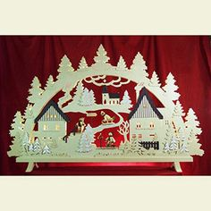 Candle Arches Fret Saw Work Candle arch - Erzgebirge Scene - 125x82x16cm / 49x32x6 inch