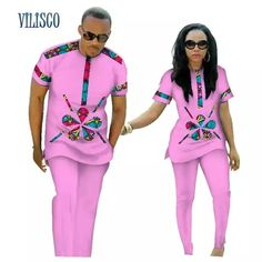 Online Shop Summer African Print Top and Pants Sets for Couple Clothing Bazin Riche Sweet Flower Patter 2 Pieces Lover Couples Clothes Couples African Outfits, Latest African Fashion Dresses, African Dresses For Women, Couple Outfits, African Clothing For Men, African Clothes, African Men, African Wear Styles For Men, Traditional African Clothing