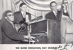 The Maxin Trio (1949) with Ray Charles, Gossie McKee, and Milton S. Garret - in an odd reworking (obviously for some publicity printwork) of one of Ray's earliest known pictures, with hand-retouche of Ray's glasses, plus clumsy illustrated elements in background and Garret's bass.