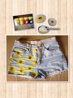 DIY Sunflower Shorts. Who's excited for the summer? ☀️☀️☀️ -Primary colour textile paints -White textile paint -Paint brush -LOADS of practice ENJOY