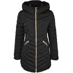 Fashion Thirsty Womens Padded Hooded Winter Coat 12 Black *** Read more at the image link.