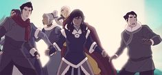 Tenzen, Kya and Bumi quickly get out of the way as Korra goes into the Avatar State as Mako and Bolin just go with it