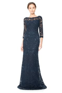 Corded Embroidery on Tulle ¾ Sleeve Gown