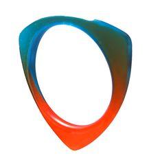 Colourful Blue Orange Gradient Resin Stack Bracelet Bangle by Lumiscopic on Etsy