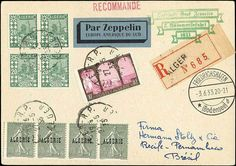 Airship Zeppelinmail, 1933. 2. South America Flight LZ 127 contracting states mails, registered postcard with incoming line Algeria with posting stamp from Alger 27. 5. 33 to Recife-Pernambuco with German green special confirmation stamp and arrival Friedrichshafen 3. 6. 33  Dealer Berliner Auktionshaus Schlegel  Auction Minimum Bid: 150.00EUR