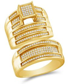 """Size 6 - .925 Sterling Silver Plated in Yellow Gold Diamond His & Hers Trio 3 Three Ring Bridal Matching Engagement Wedding Ring Band Set - Square Shape Center Setting w/ Micro Pave Set Round Diamonds - (.58 cttw) - SEE """"PRODUCT DESCRIPTION"""" TO CHOOSE BOTH SIZES Sonia Jewels http://www.amazon.com/dp/B005Z7WGIM/ref=cm_sw_r_pi_dp_.StUub1SV575R"""