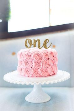 birthday cake topper, One cake topper, smash cake topper, first birthday cake topper - Babyshower Pink Cake Ideen 1st Birthday Cake Topper, First Birthday Cakes, Birthday Cake Girls, Birthday Ideas, 1st Birthday Outfits, 21st Birthday, Birthday Cake For Women Simple, One Year Birthday Cake, 1st Birthday Girl Decorations