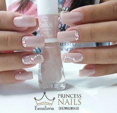 Nude Nails, Pink Nails, Acrylic Nails, Diamante Nails, Nail Envy, Elegant Nails, Toe Nail Art, All Things Beauty, Nail Arts