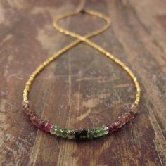 Watermelon Tourmaline Necklace with 24K Gold by TwoFeathersNY, $145.00