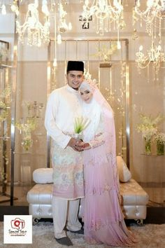 Pink Tiered wedding dress for Diana Amir's big day. #Muslim