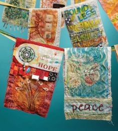 New Free How to Make Prayer Flags - Cloth Paper Scissors Thoughts This is actually the sleeve crown also called the sleeve mind or sleeve limit The top nearly alway Paper Embroidery, Learn Embroidery, Embroidery Designs, Shirt Embroidery, Fabric Art, Fabric Crafts, Hanging Fabric, Vinyl Fabric, Peace Flag
