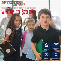Students can receive up to $20,000 by submitting Essays, Photos, Videos & More to our Free, Fun and Easy Afterschool Awards sponsored by IZOD! We will be selecting one winner in each category to receive a $5,000 Scholarship to further their academic studies. Enter Today and Share Your Story! → www.afterschoolawards.com.