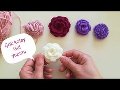 Knitted Flowers, Crochet Flower Patterns, Crochet Lace, Hobbies And Crafts, Diy And Crafts, Knitting Videos, Crochet Accessories, Lana, Crochet Projects