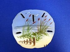 Decorative Collectable Hand Painted Sea Shell Beach Scene Sand Dollar - Grace for a Gypsy/RV Living/genealogy research/family tree research/crafting ideas/natural wellness/ Seashell Painting, Seashell Art, Seashell Crafts, Seashell Projects, Sea Crafts, Rock Crafts, Painted Sand Dollars, Sand Dollar Art, Painted Rocks