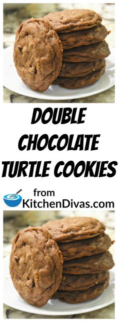 These cookies are so easy and sooooo yummy! Chocolate, pecans and toffee bits in a soft and chewy chocolate cookie are a perfect combination! #dessert #cookie #cookies #chocolate #turtle #recipes