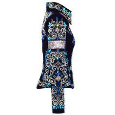 Show Clothes - Iridescent Blue Diamonds Western Show Jacket (S) - Lisa Nelle