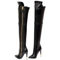 cb3b0b3681fe New Tom Ford Black Leather Over The Knee Boots ( 2