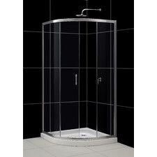 Round shower with sliding door