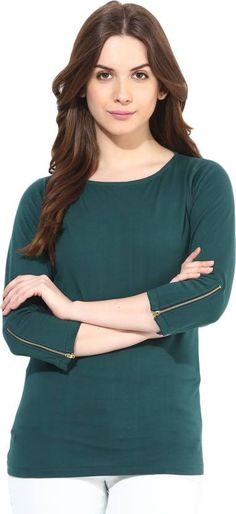 94284332147 Miss Chase Casual 3 4th Sleeve Solid Women s Green Top
