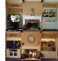 My DIY Fireplace makeover! Tiled over brick face and hearth. Replaced doors with freestanding fireplace screen. Built out left side to match existing built-in on right side.