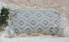 Antique Straw Stuffed Satin & Lace Pin Cushion @ Vintage Touch ~ SOLD