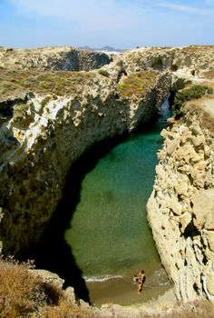 Natural pool near Papafrangos Cave in Milos, Kyklades, South Aegean_ Greece Places Around The World, Around The Worlds, Sea Cave, Turquoise Water, Deep Sea, Greece, Europe, Island, Nature