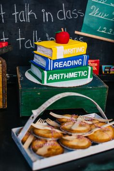 A stacked book cake