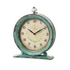 Creative Co-op Metal Rustic Retro Table Clock, Aqua Aqua Bedding, Teal Paint, Retro Table, Tabletop Clocks, Metal Clock, Creative Co Op, Industrial Chic, Industrial Interiors, Industrial Office