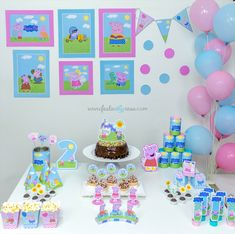 Birthday Party Table Decorations, Birthday Party Tables, 2nd Birthday Parties, Fiestas Peppa Pig, George Pig, Baby Birthday Cakes, Pig Party, Papa Pig, Diy Casa