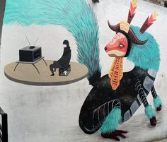 Curiot is a Mexico City based artist who combines indigenous and street art to make some incredible, mythical murals.