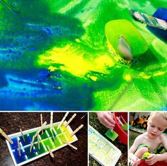 Paint with ice cubes
