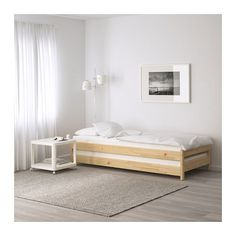 UTÅKER Stackable bed with 2 mattresses - pine/Meistervik - IKEA