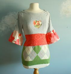Coral Gray Sweater Upcycled Top Bird Bell Sleeve S-M 'NECTAR'. $43.39, via Etsy.